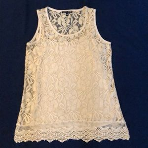 Cable and Gauge Ecru Lace Top